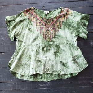 Green White Tie Dye Flowy Embroidered Top Blouse